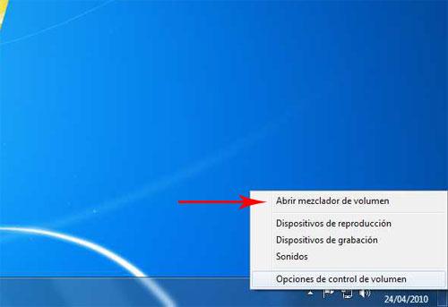 Icono de sonido en Windows 7