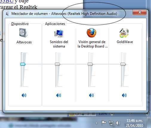 Mezclador de sonidos en <br /> Windows 7